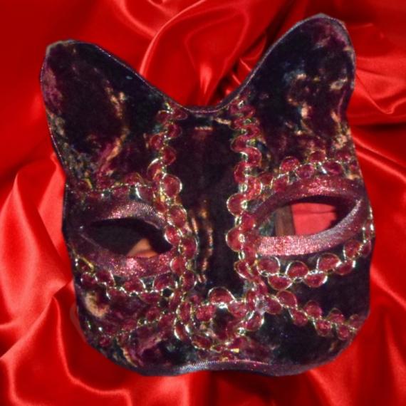 ARTISANAT D'ART art animalier chat papier maché venise Animaux  - Masque de chat (camaieu de rouges)