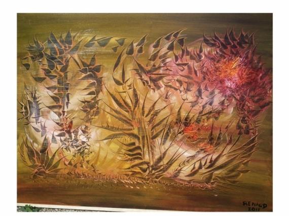 TABLEAU PEINTURE fleur vie naissance Abstrait Peinture a l'huile  - La fleur de vie