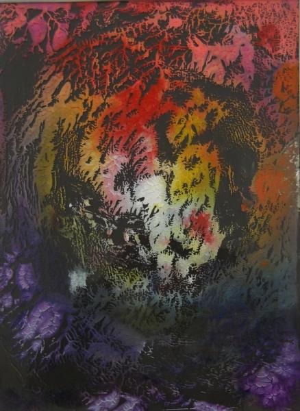 CéRAMIQUE, VERRE fractale peinture sur verre Abstrait  - Fractale 032