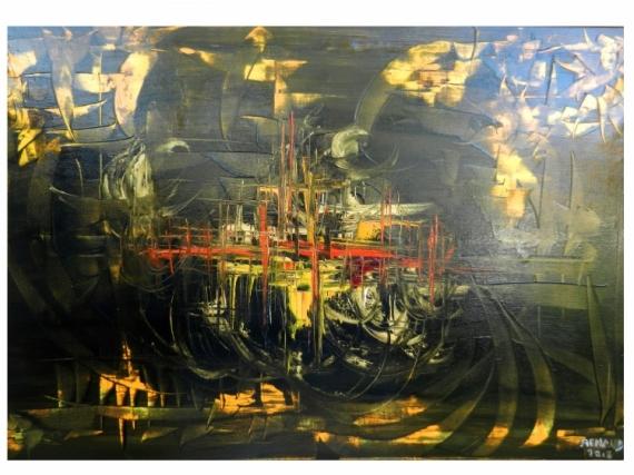 TABLEAU PEINTURE Abstrait Peinture a l'huile  - Lumière céleste