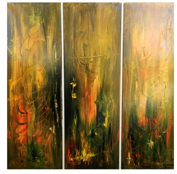 TABLEAU PEINTURE Abstrait Peinture a l'huile  - La danse du feu