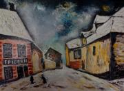 tableau scene de genre rue de village : Rue de vlllage (d'après Maurice Vlaminck)