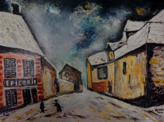 TABLEAU PEINTURE rue de village Scène de genre Peinture a l'huile  - Rue de vlllage (d'après Maurice Vlaminck)