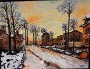 tableau paysages route louveciennes : Route de Louveciennes (d'après Claude Monet)