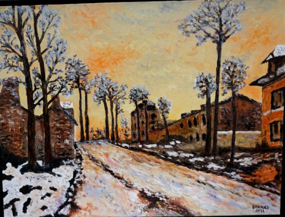 PAINTING route louveciennes Paysages Peinture a l'huile  - Route de Louveciennes (d'après Claude Monet)