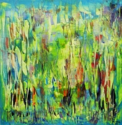 tableau abstrait jardin eden paradis : Jardin d'Eden
