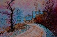 Entrée de Giverny en hiver au soleil couchant ( d'après Cla