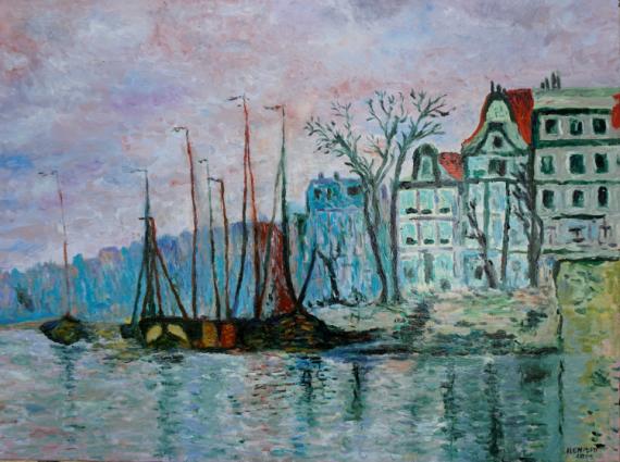 TABLEAU PEINTURE quai du prince amsterdam Scène de genre Peinture a l'huile  - Quai du prince à Amsterdam (d'après Claude Monet)