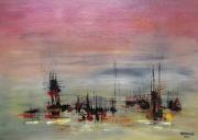 tableau abstrait mouillage marquises iles : Mouillage aux Marquises