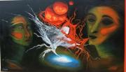 tableau abstrait rouge combat duel amour : duel