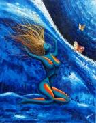 tableau personnages femme bleu eau esprit : femme bleu