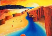 tableau paysages soleil mer jaune bleu : un autre monde
