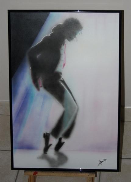 TABLEAU PEINTURE Michael Jackson portrait aérographe aérographie Acrylique  - Michael Jackson