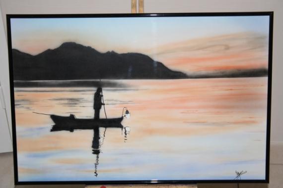TABLEAU PEINTURE paysage pêcheur aérographe aérographie Paysages Acrylique  - Le Pêcheur