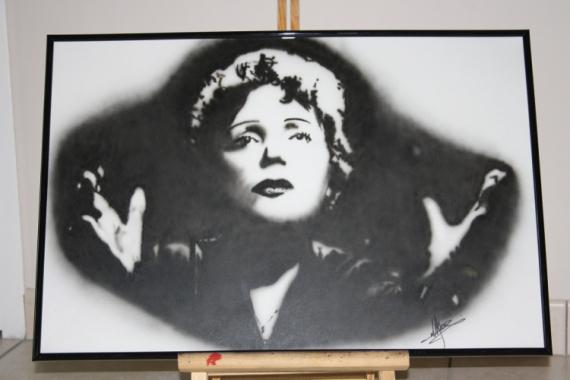 TABLEAU PEINTURE Edith Piaf aérographe aérographie Acrylique  - Edith Piaf