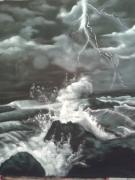 tableau paysages mer tempete : orage