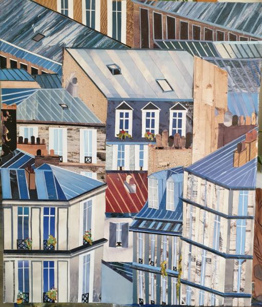 TABLEAU PEINTURE VILLE PARIS Villes Collage  - Paris