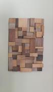 tableau abstrait collage papier bois : bois