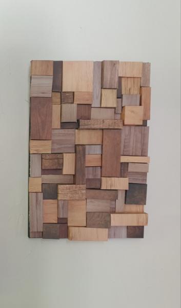 TABLEAU PEINTURE collage papier bois Abstrait Collage  - bois