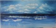 tableau marine mer bleu vague nuage : bleu