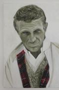 tableau personnages portrait artiste noir et blanc : steve