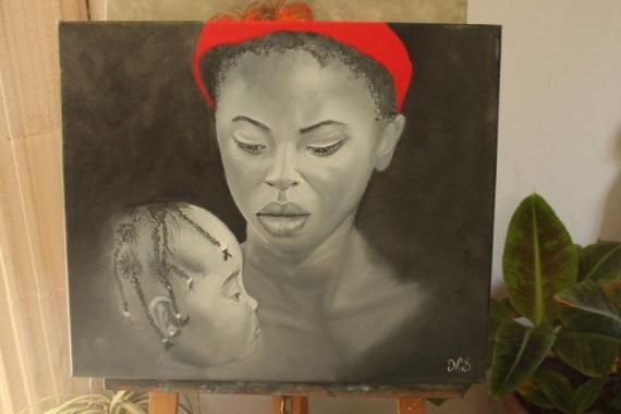 TABLEAU PEINTURE Personnages Peinture a l'huile  - Amour maternel