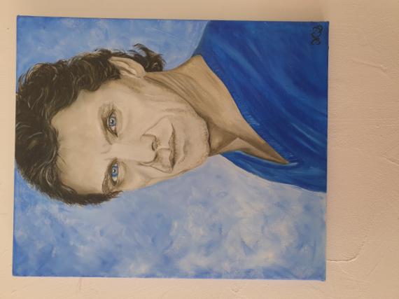 TABLEAU PEINTURE portrait artiste chanteur Marc Lavoine Personnages Peinture a l'huile  - Marc Lavoineportrait
