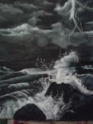 tableau paysages mer tempete : tempête en mer