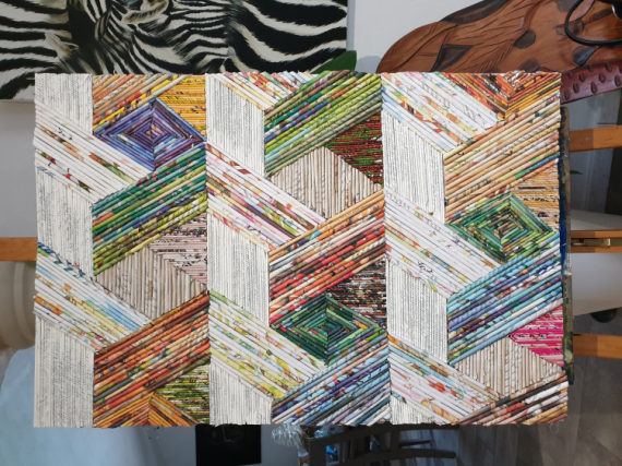 TABLEAU PEINTURE Abstrait Collage  - GEOMETRIE