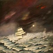 tableau marine phare orage voilier : Tempête (VENDU)