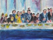 tableau scene de genre foule mouvement lointain musique : le banquet