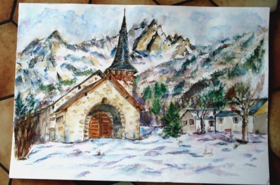 AUTRES Paysages  - Chapelle des Praz et les drus Chamonix