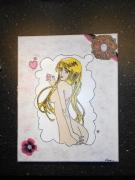 tableau personnages manga pate structure acrylique fleur : manga repro