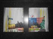tableau villes serviette newtork jaune et gris gesso : new-york