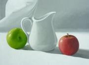 tableau nature morte pomme cruche lumiere vert : NATURE MORTE aux pommes