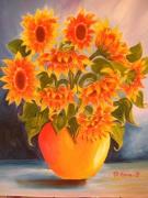tableau nature morte fleur vase tournesols : les tournesols