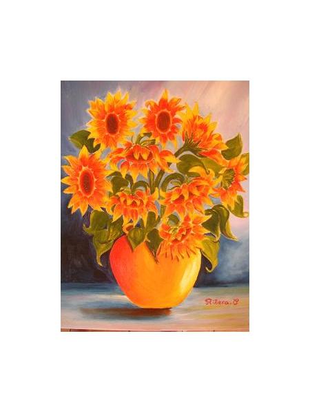TABLEAU PEINTURE fleur vase tournesols Nature morte Peinture a l'huile  - les tournesols