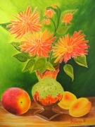 tableau nature morte fleur dalhia : les dalhias