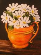 tableau nature morte fleur vase marguerites : marguerites