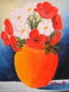 tableau fleurs vase coquelicot marguerite : marguerites & coquelicots