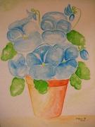 tableau fleurs aquarelle fleur pensee : pot de pensee