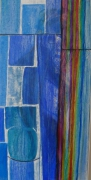 tableau abstrait collage transparence rideau cubisme : douche
