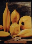 tableau nature morte pots ceramiques urnes rondeurs : pots et or