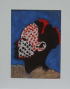 tableau personnages afrique africain portrait masque : bambouli