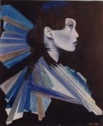 tableau personnages asie visage femme portrait : china blue