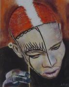 tableau personnages africain grimage ethnique : Nouba
