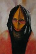 tableau personnages portrait femme arabe voile : Le Silence