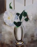 tableau fleurs bouquet fleurs blanches nature morte vase : composition 1