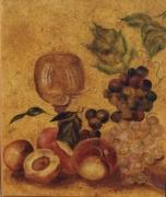 tableau nature morte fruits veloute raisins vigne : Raisins et peches