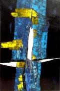 tableau abstrait matiere mixte voiles bateaux croix : totem